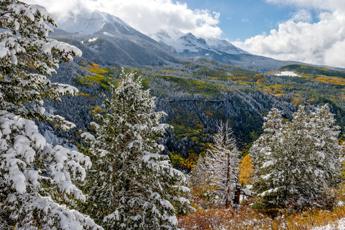 First winter storm and fall colors telluride colorado tb6vgh