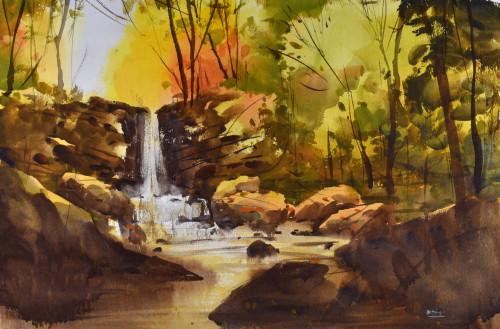 Autumn waterfall k0qrqu