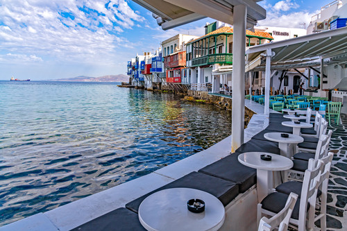 Mykonos and little venice by sea and resturant greece ii mov37a