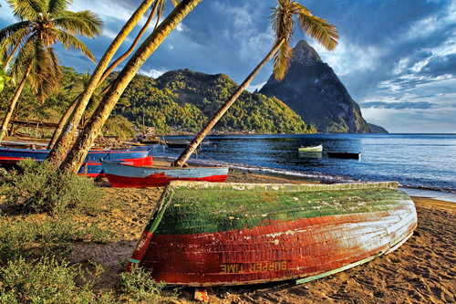 St. lucia and piton with fishing boats xo5icu