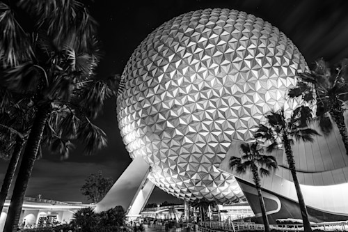 Spaceship earth at night black and white s4fmkx