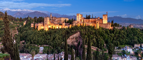 The alhambra at sunset granada spain nfzqlf