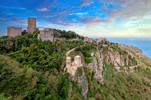 Erice overlook from castle sicily italy vung1m