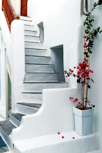 White wall with steps and red petals mykonos greece wj8z28