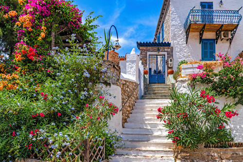 Steps and flowers front yard of home hydra greece ii nb0cv2