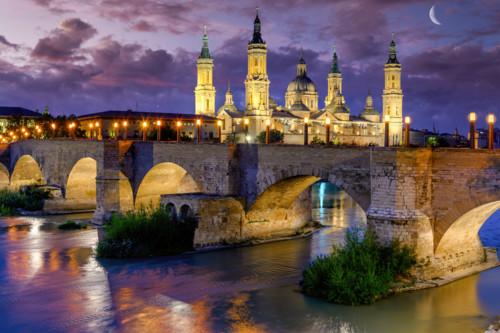 Zaragoza and ebro river and moon spain fxozrs