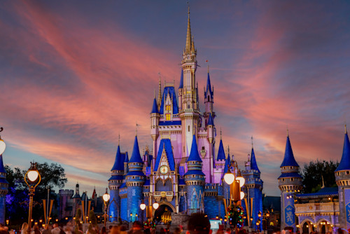 Cinderella castle under a pink sky p0rgsf