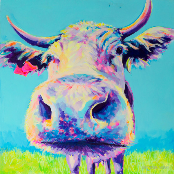 Loui A Colourful Cow Painting By Miss Anna Hall