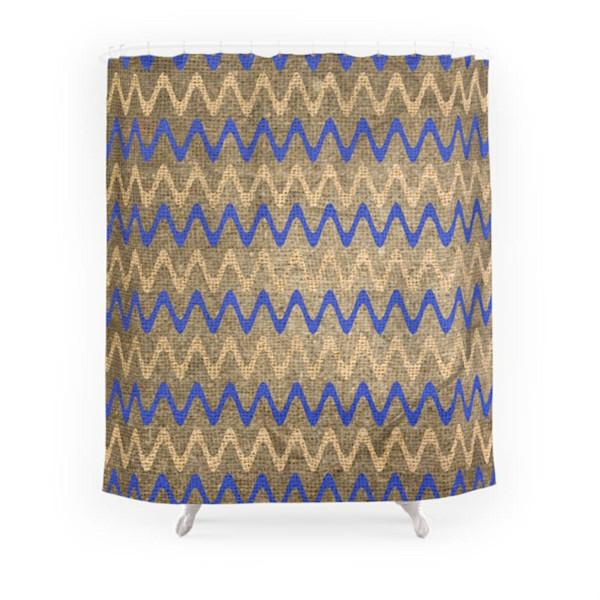Blue & Tan Zigzag Stripes On Grungy Brown Burlap Decorative Bathroom ...