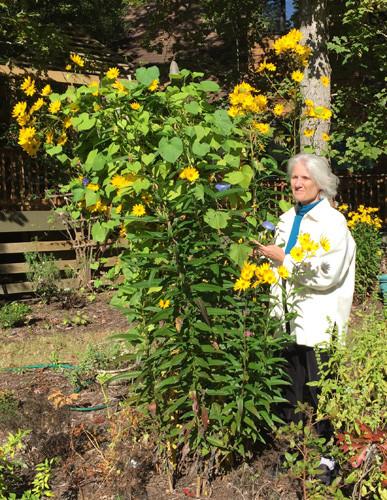 Dorothy Fagan in her garden.