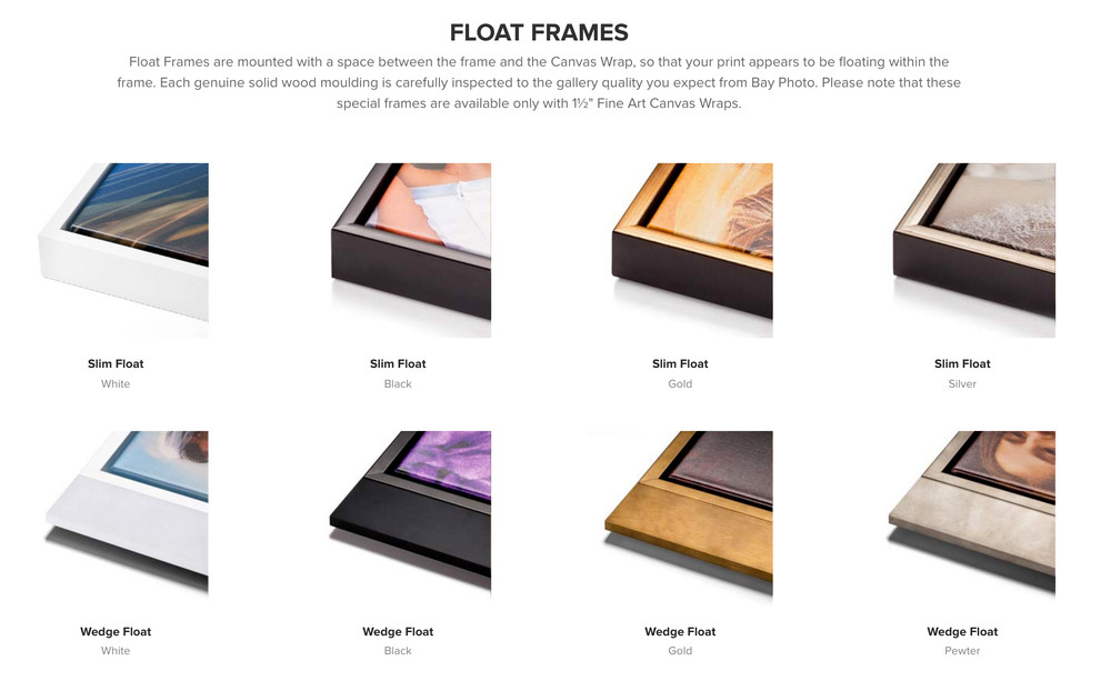 Wood float frames for metal prints