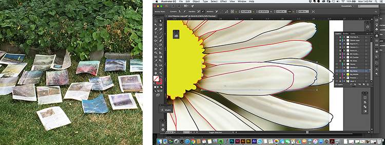 Photos of Jenny Goring's unique process: altering National Geographic Pages, Drawing cut patterns using Adobe Illustrator.