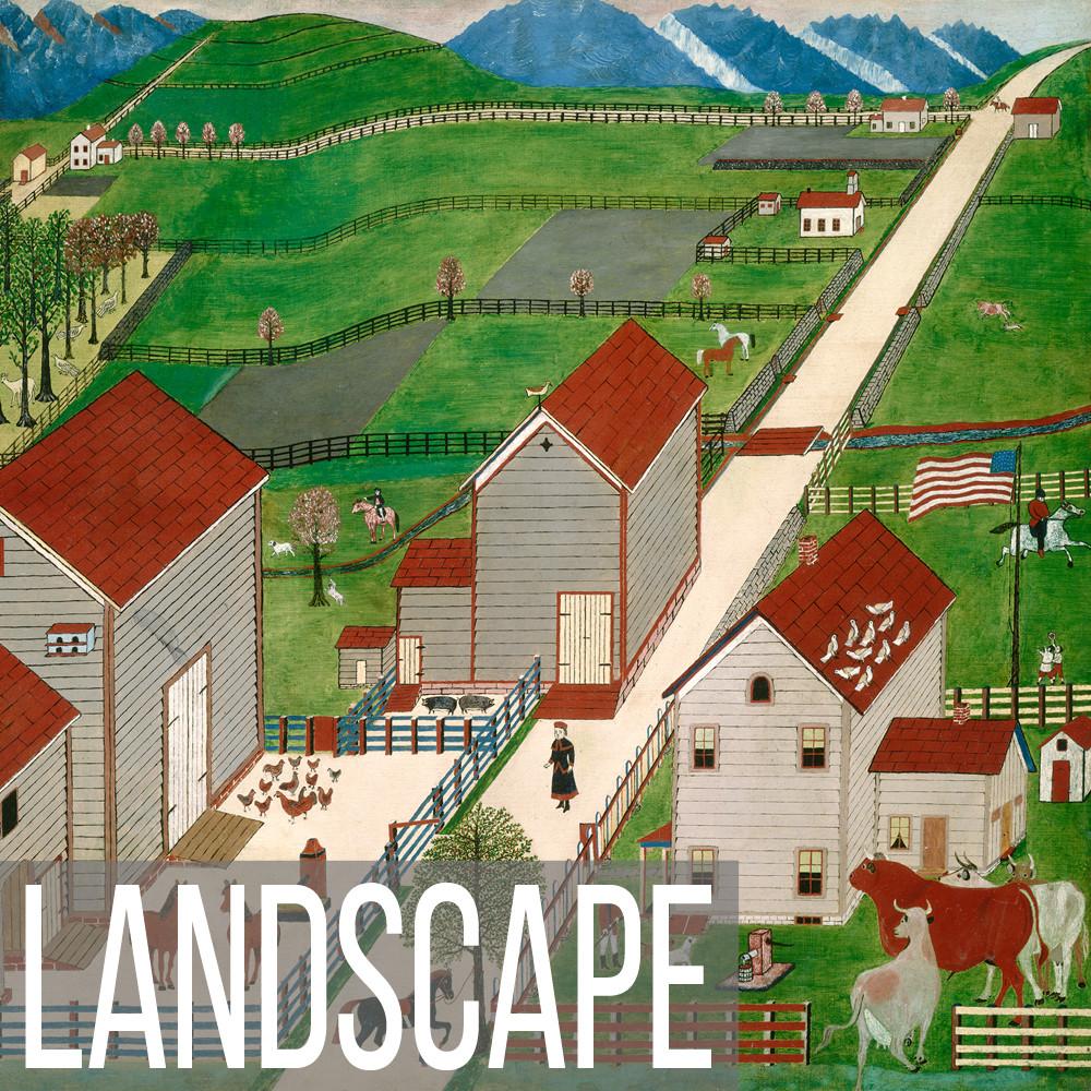 Folk Art Landscape art print reproductions