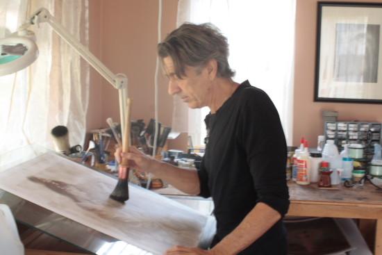 Frantisek Strouhal in his Studio