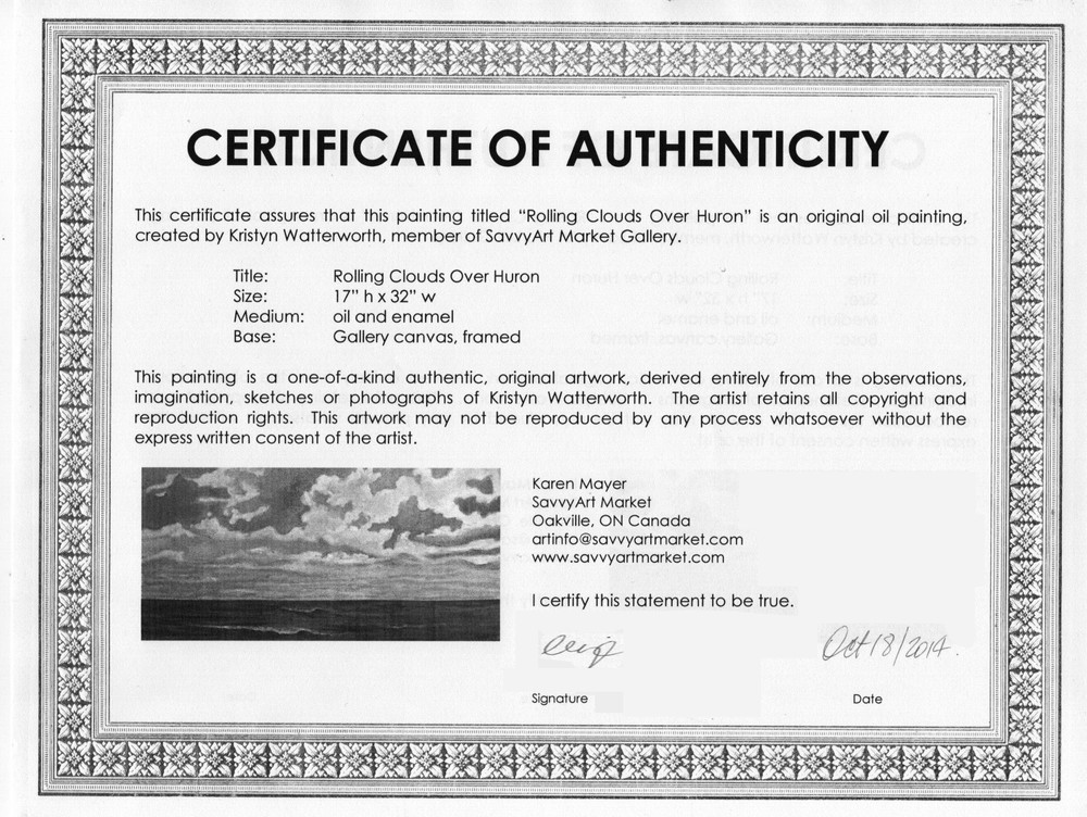 Sample certificate of authenticity for originals for Artist certificate of authenticity template