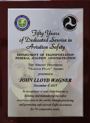 Aviation Safety Award for 50 years of practicing and promoting safe flying.