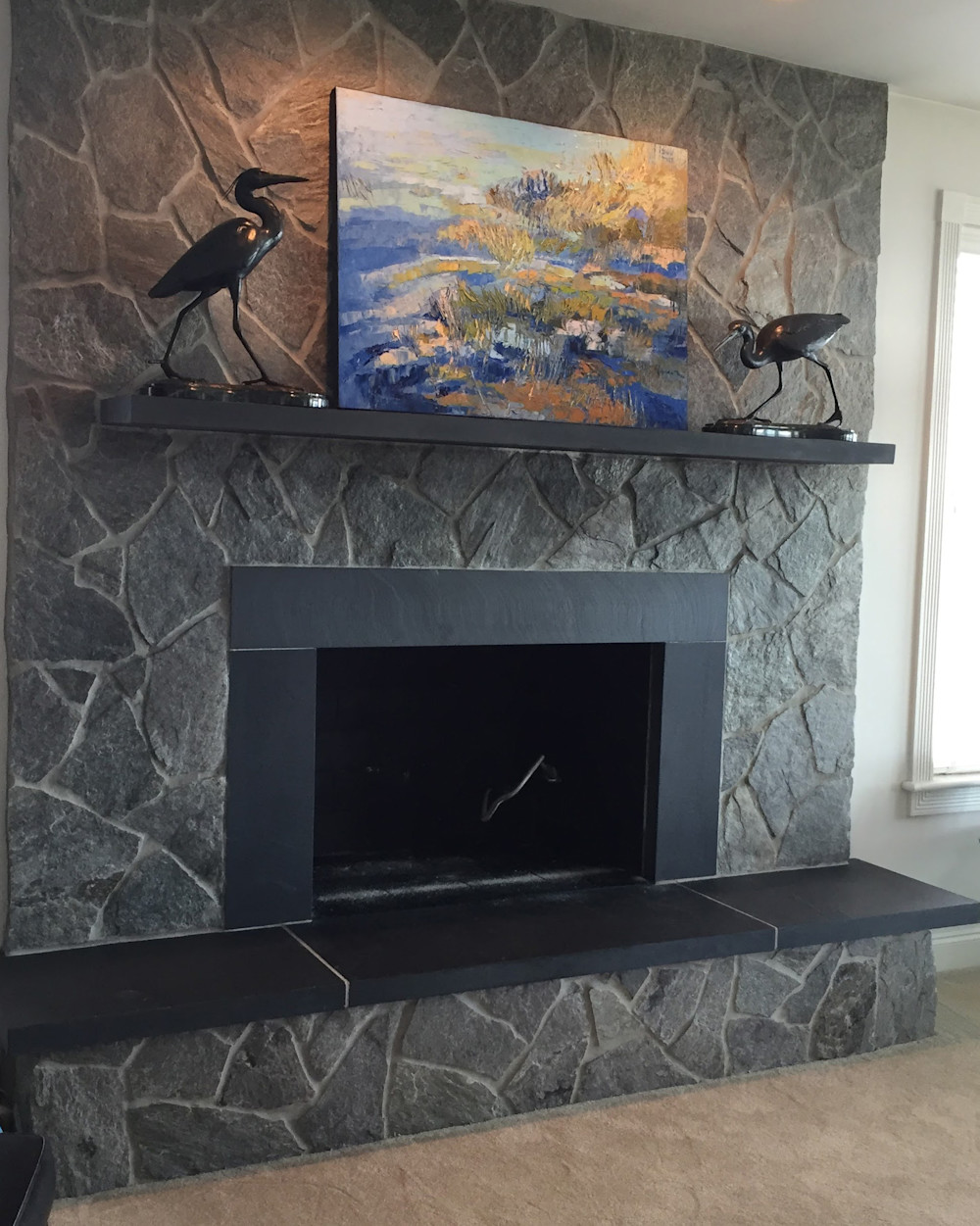 stone fireplace installation