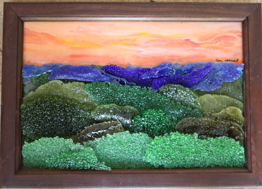 Fused Glass Mountain Scene
