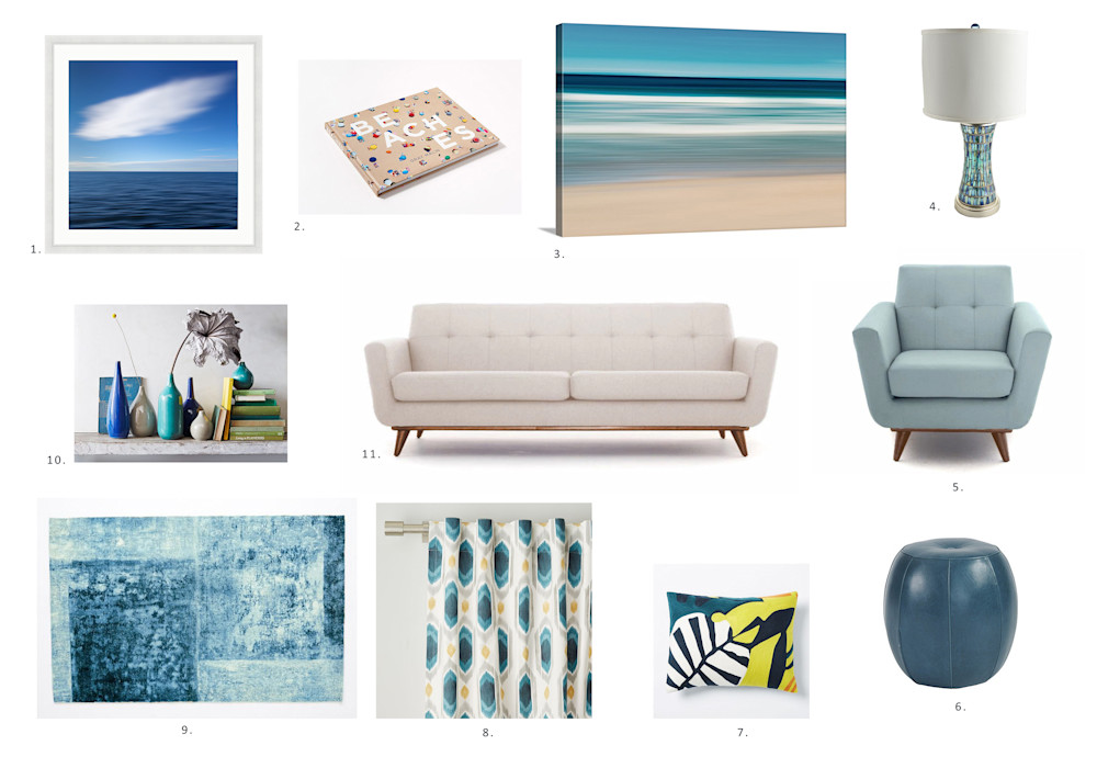 Midcentury Modern Beach Living Room Idea Board
