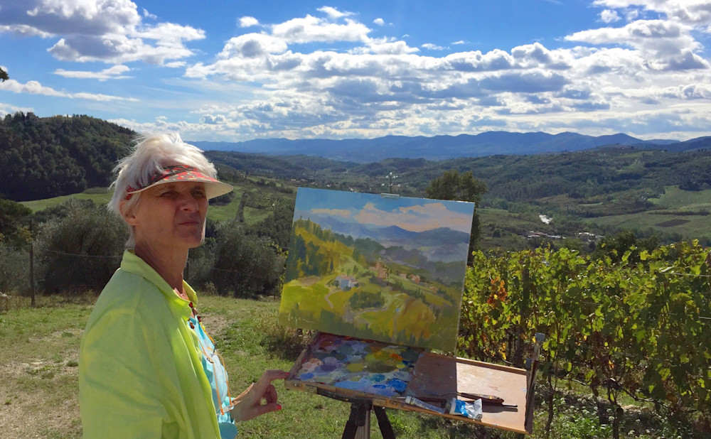 plein air painting in Tuscany