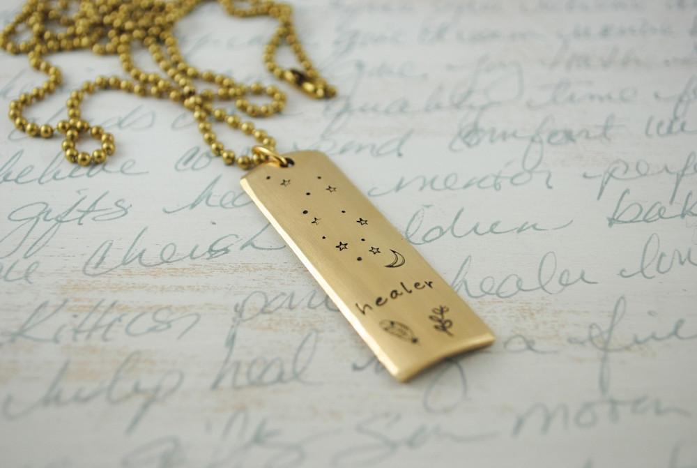 Healer Hand Stamped Necklace Berkey Designs