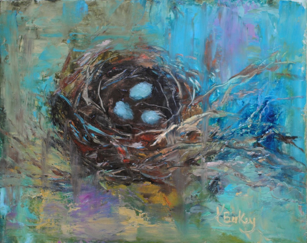 Cardinal Nest Painting by Kelly Berkey