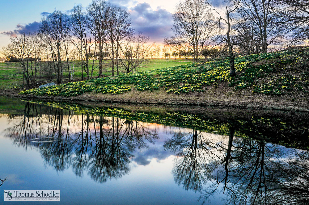 Ridge Pond at sunset from the Laurel Ridge Foundation - Litchfield CT