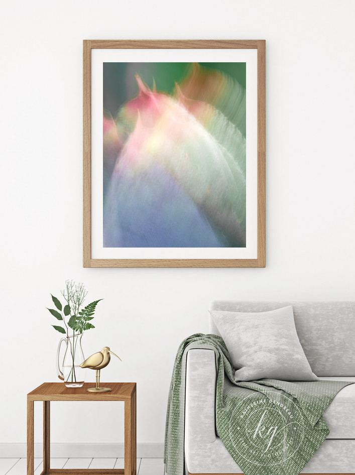 abstract flower leaf photography, large vertical botanical art, colorful spring wall art, succulent plant artwork
