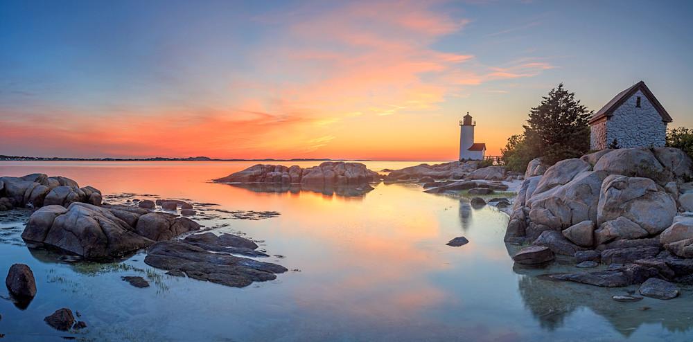 annisquam lighthouse photo sunset photography panorama panoramic large art gloucester ma rockport massachusetts cape ann photograph wall decor prints
