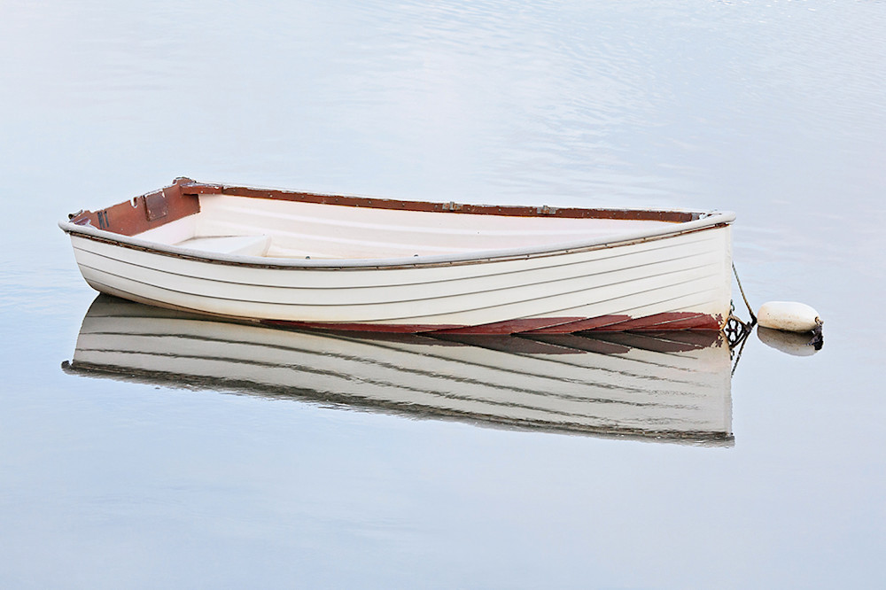 white rowboat photo serene peaceful large boat photography wooden boat print rockport harbor massachusetts cape ann blue white