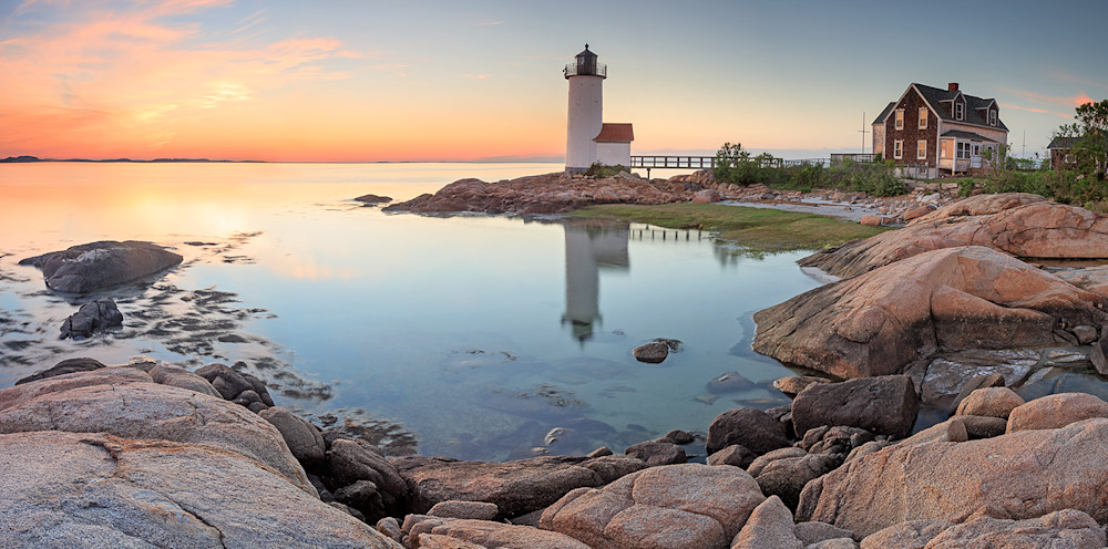 annisquam lighthouse gloucester ma summer sunset panorama panoramic photography cape ann rockport ma massachusetts coast
