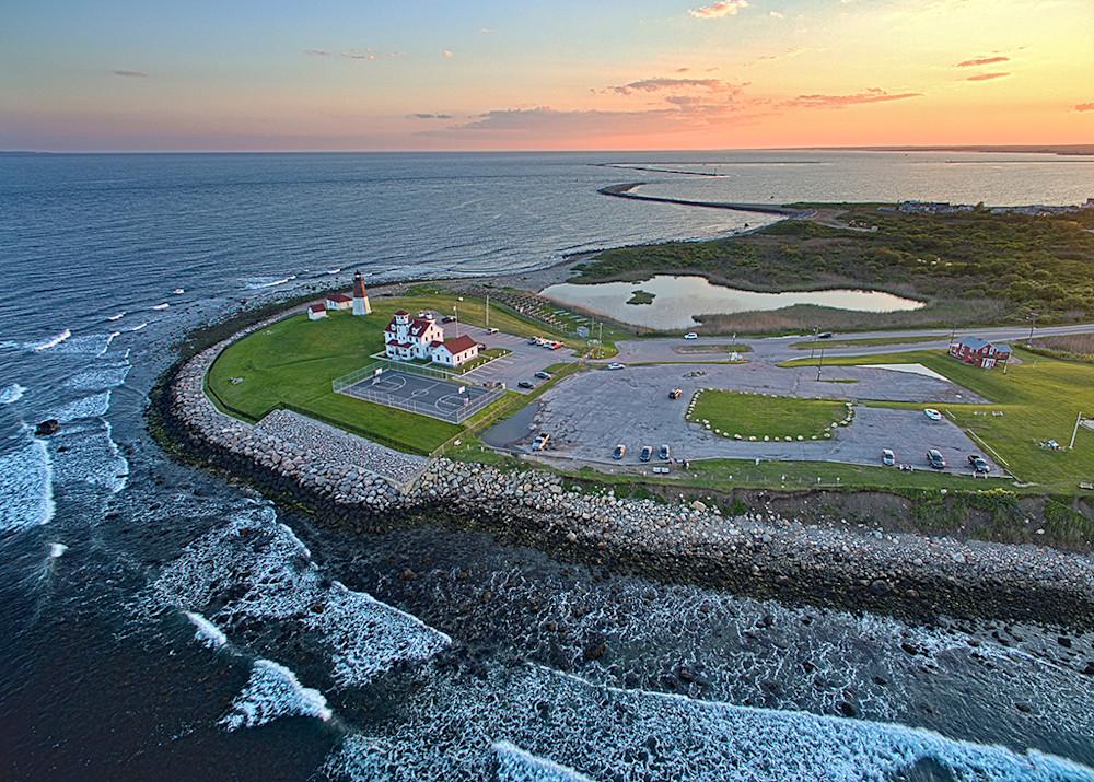 point judith narragansett ri rhode island lighthouse aerial sunset photography drone photo print coastal wall art aerial beach photograph