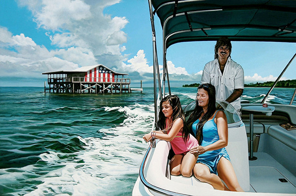 This commissioned portrait shows a Hudson, Florida, family enjoying their pontoon boat near a stilt house on the Gulf of Mexico. The acrylic on panel painting was created by Florida photorealism artist Kevin Grass.