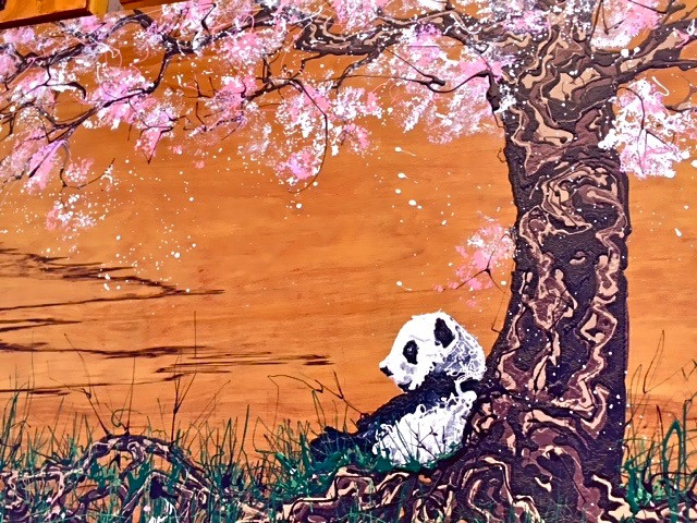 Panda Under Cherry Tree Buchanart (sold - commission available)