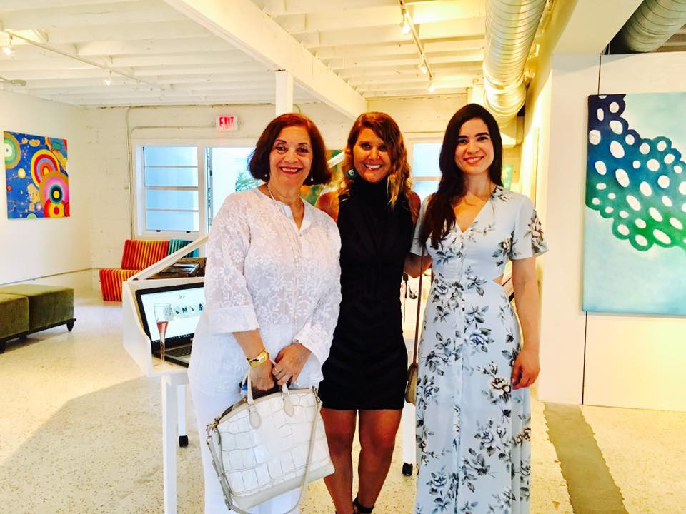 Frances Cervera, Gabriela Esquivel and Jessica Colom at Village Design Art Gallery