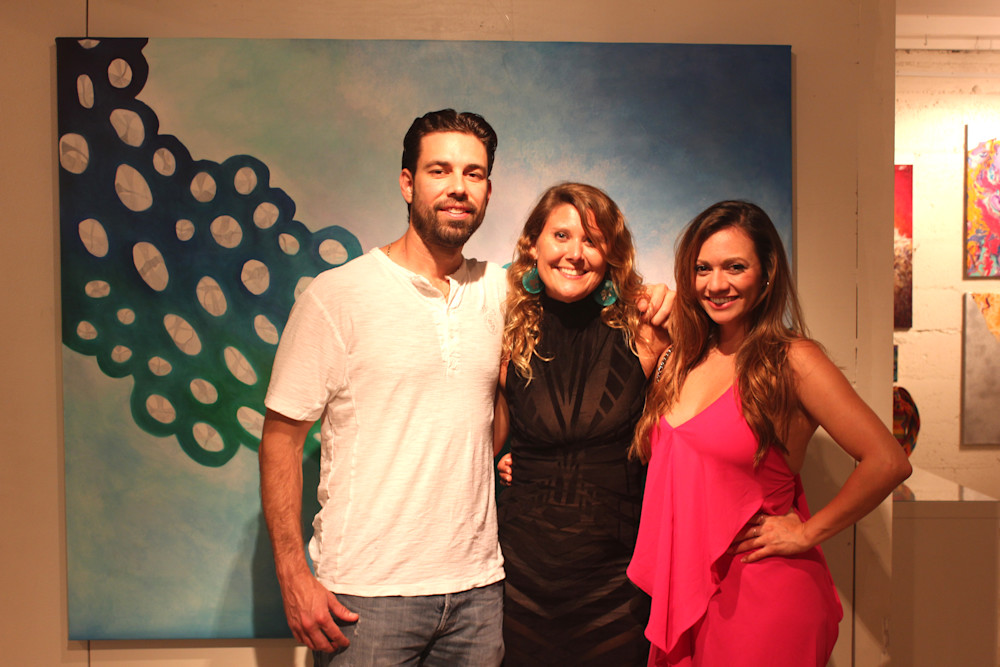 Chris Schuk, Gabriela Esquivel and Lina Torres at Village Design Art Gallery