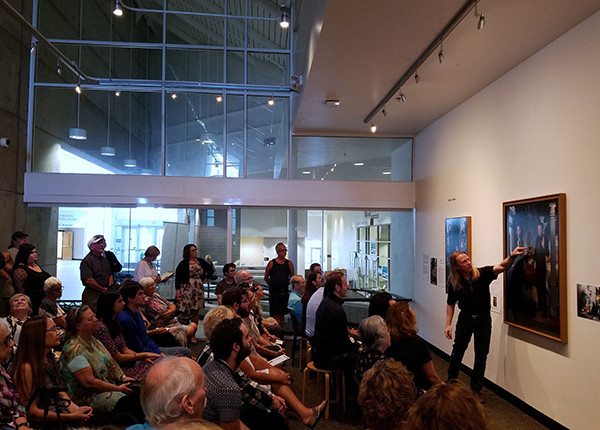 "Florida artist Kevin Grass gives an artist talk about his painting ""Love Wins!"" during the fall 2016 St. Petersburg College faculty exhibition at the Leepa-Rattner Museum of Art in Tarpon Springs, Florida."