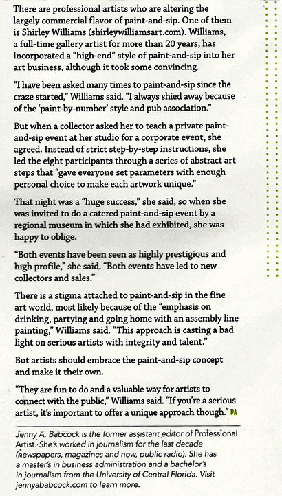 "Shirley Williams excerpt about ""Sip & Paint"" at museum studio"