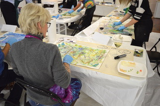 Fun night of painting at museum studio Sip & Paint night lead by artist Shirley Williams