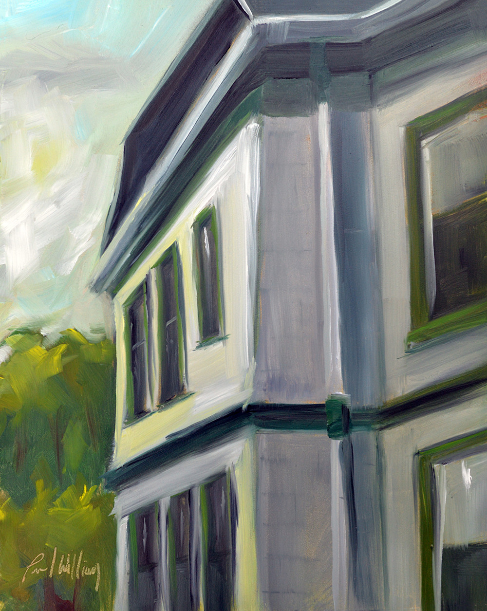White house green trim plein air painting by paul william art for sale - White house green trim ...