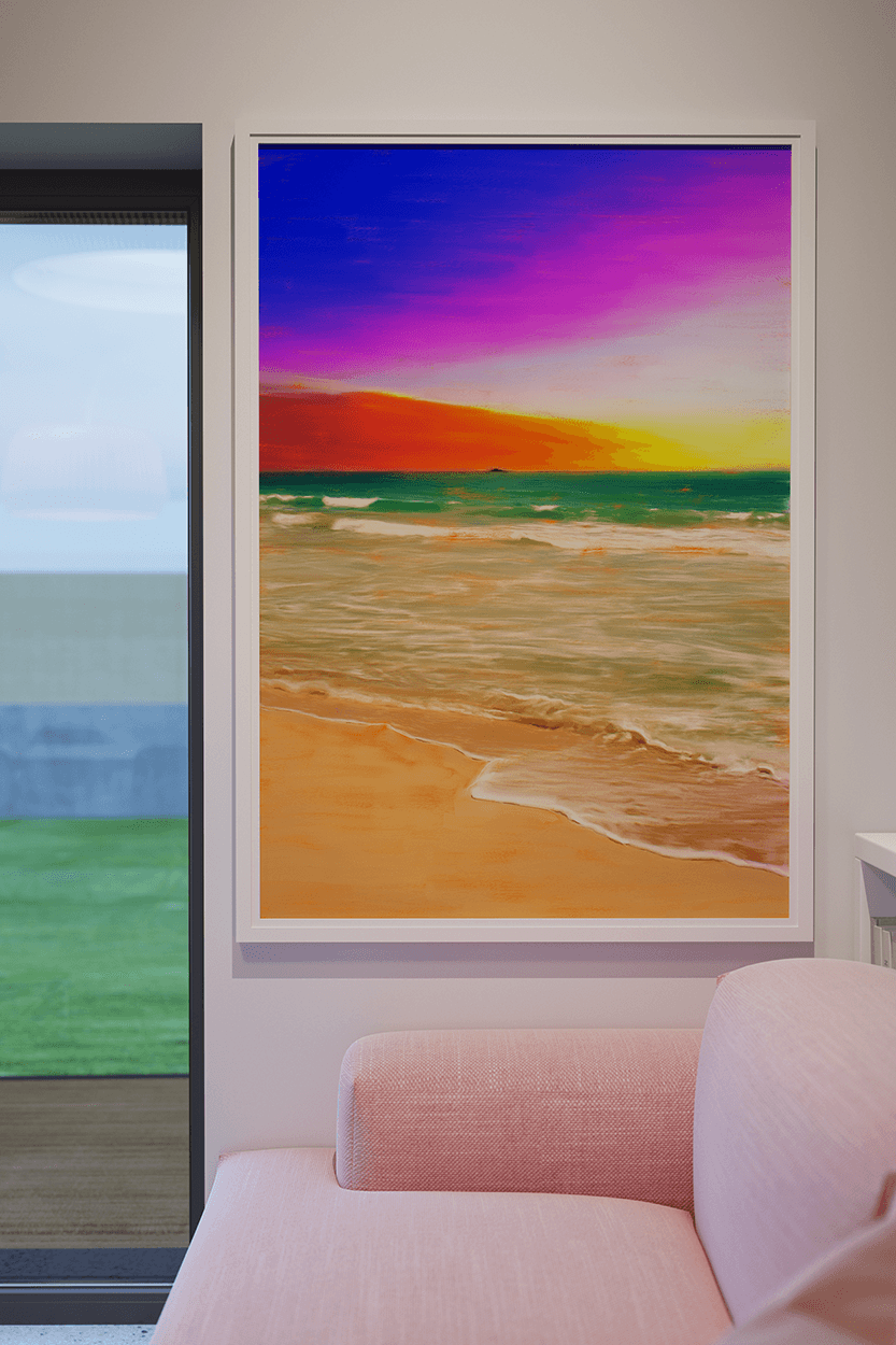 Kailua Hawaii Beach Painting by Christina Stefani hanging on a wall