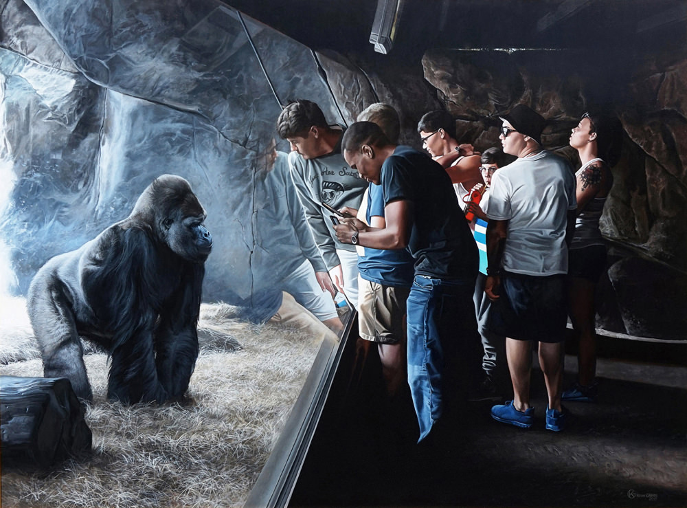 "In Kevin Grass's ""Primates"" acrylic on panel painting, it is not certain who is watching who: the silverback gorilla or the zoo visitors."