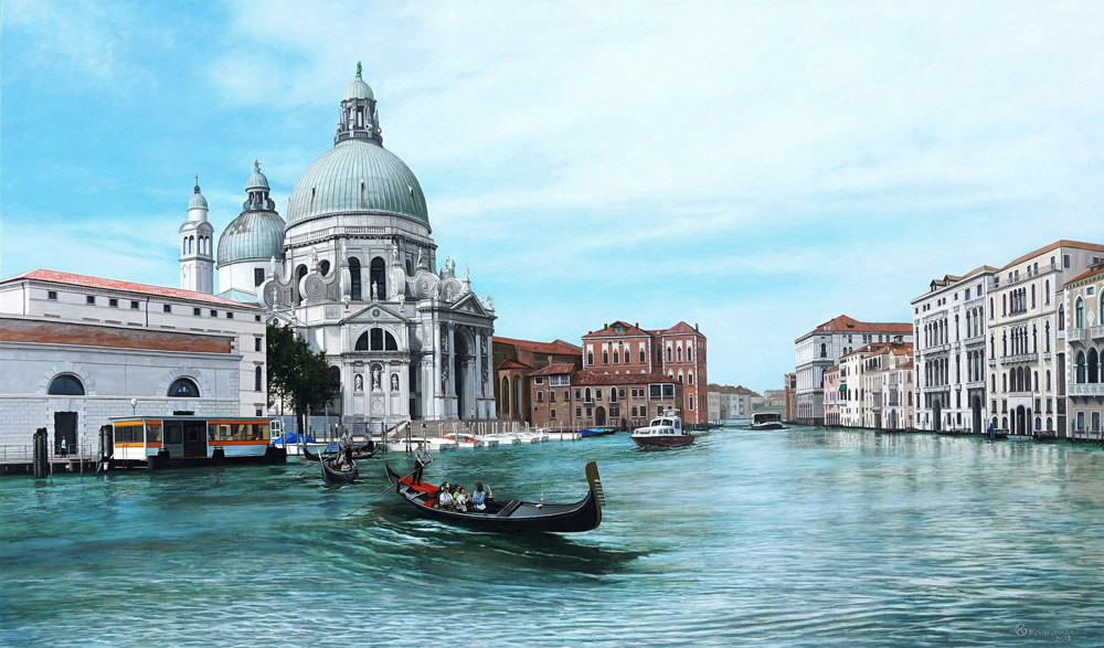 "Kevin Grass's ""View of the Santa Maria della Salute, Venice"" painting emulates the vedute pieces of the Old Master artist Canaletto."