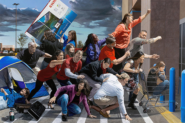 "Kevin Grass's ""Black Friday"" painting shows shoppers in a frenzy clamoring for bargains on the day after Thanksgiving in this realism genre scene."
