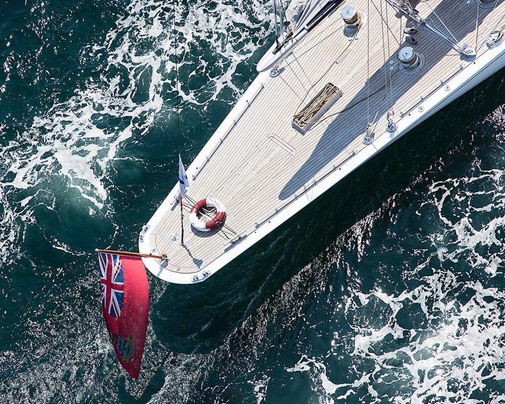 j class yacht photography, aerial sailing photo, aerial yacht picture, j5 ranger stern, wooden planks, deck, ocean, newport ri, photograph