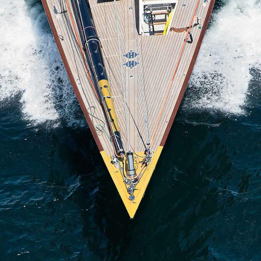 Velsheda J class yacht bow, aerial yacht photography, luxury sailboat, sail racing, square nautical print, newport rhode island, sailing wall art