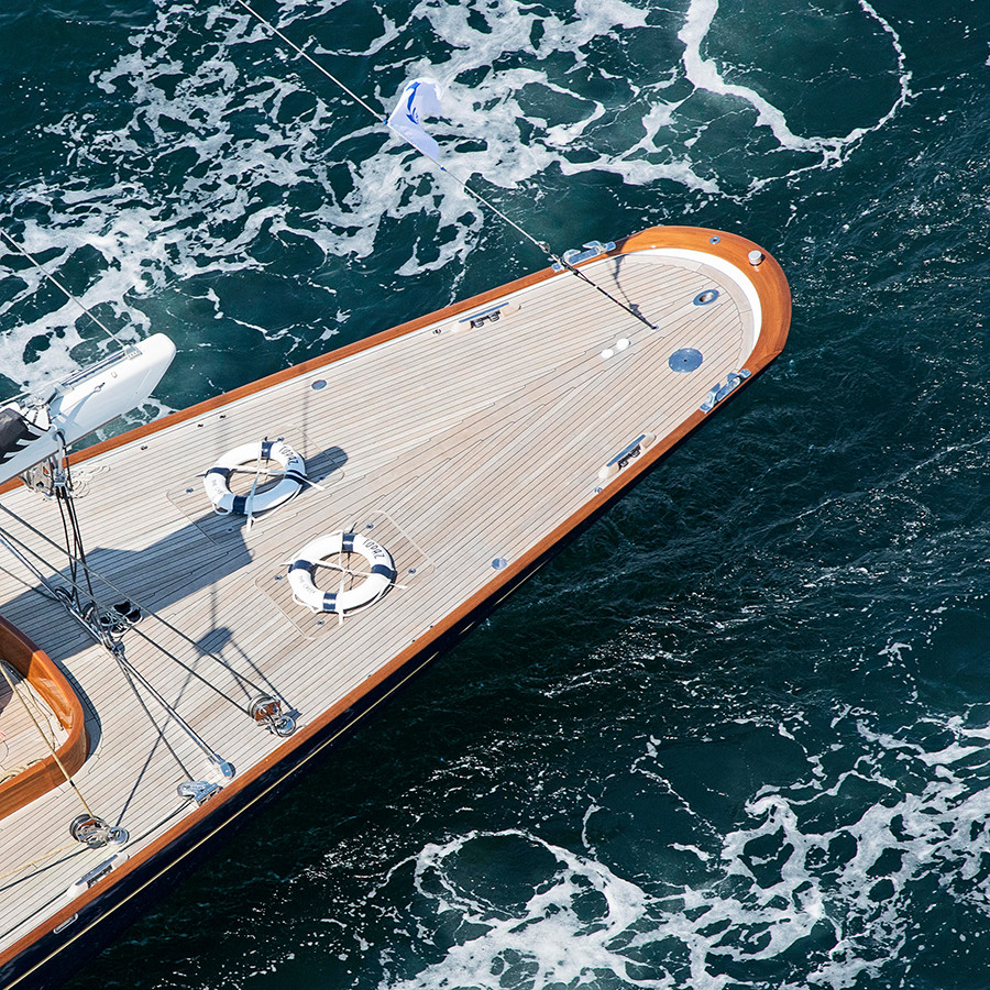 j class yacht topaz stern, aerial sailing yacht photography, square nautical wall art, teal, beige, white, ocean, newport ri, photo, print, picture, sea, photograph