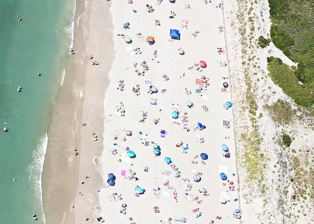 newport ri aerial beach photography, second beach, sachuest beach photo, middletown ri, sunbathers, swimming, umbrellas, dunes, colorful, summer, large coastal beach art