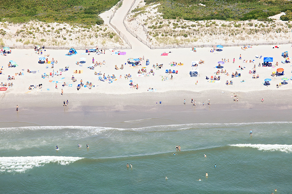 aerial beach photography, newport ri beach photos, second beach print, dunes path, umbrellas, swimmers, sunbathers, colorful, summer, beach art, large oversized photograph