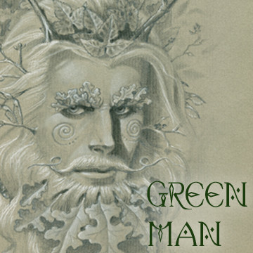 Send great greeting cards featuring Green Man with art by Melissa A Benson